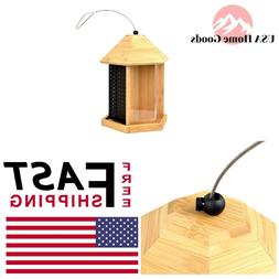Trio Bamboo Wild Seed Bird Feeder W/ Built In Drain Holes Ha
