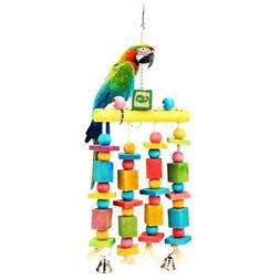 US Bird Parrot Toy Hanging Swing Cage Rope Pet Chew Bell Fee