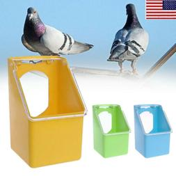 US Bird Parrot Water Food Bowl Pet Pigeons Cage Cup Feeder F