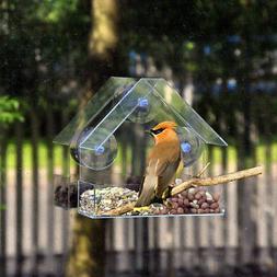 Clear Window Bird Feeder Feeding Squirrel Birdhouse W/ Sucti