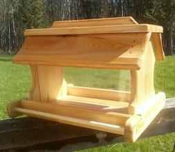 Very large handmade cedar wood square post mount bird feeder