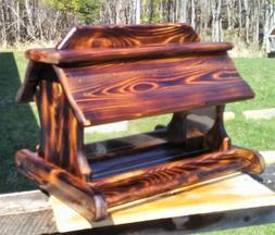Very large handmade cedar wood square post mount bird feeder