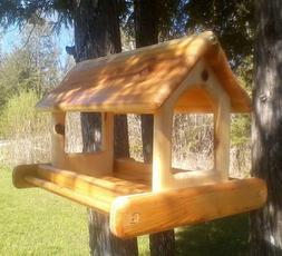 Very large, hanging, cedar wood, fly through platform bird f