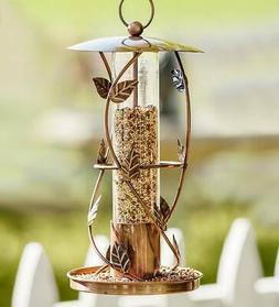 Vintage Hand-Hammered Metal Lantern Bird Feeder