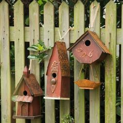 Glitzhome Vintage Rustic Wooden Birdhouses Hanging Bird Feed