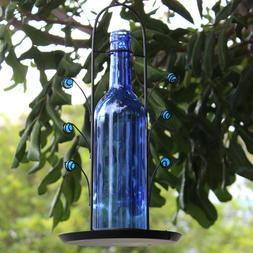 Vintage Style Glass Bottle Bird Feeder Blue Glass Wine Bottl