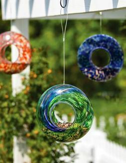 Evergreen / Warm Accents - Glass Bird Feeder w/ Circle Swirl