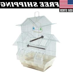 Bird Cage House Style Starter Kit Swing Perch Feeder Two Sto