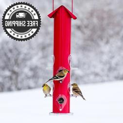 Wildlife Perky-Pet Red Metal Tube Wild Bird Feeder 8 Feeding