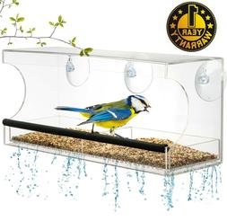 Window BIRD FEEDER, Extra Strong Suction Cups, Tray with Dra