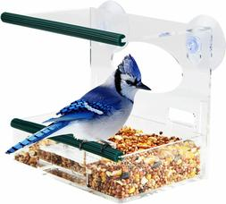 Window Bird Feeder for Outside with Strong Suction Cups & Re
