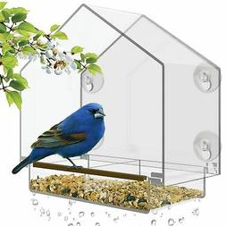 Window Bird Feeder High Pitched Roof Removable Sliding Tray