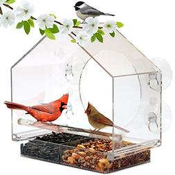 window bird feeder house by with sliding