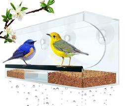 Window Bird Feeder: Large, Durable Acrylic, Self Draining *