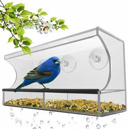 Window Bird Feeder Removable Tray Drain Holes Clear Acrylic