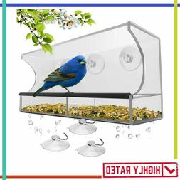 WINDOW BIRD FEEDER Strong Suction Cups Drainage Holes Seed T