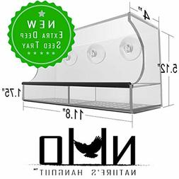 Window Bird Feeder with Strong Suction Cups and Seed Tray, O