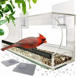 Window Bird Feeders with Sliding Feed Tray for Outside, Hang