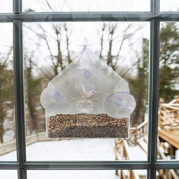 Window Glass Bird Feeder Clear Perspex Seed Peanut Suction C
