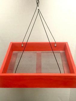 Wood Bird Feeder-Hanging Platform galvannealed metal mesh se