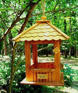 "Wood Hanging Gazebo Bird Feeder ""First Birdie Bank"""