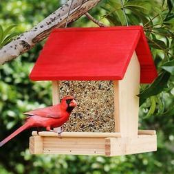 Wooden Bird Feeder Attractive Red Roof 2L Outdoor Hanging Ho