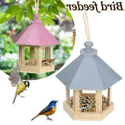 Wooden Bird Feeder Hanging for Garden Yard Decoration Hexago