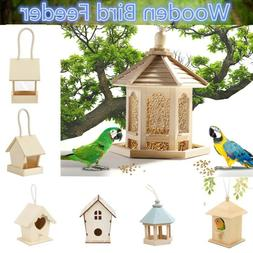 Wooden Bird Feeder Hanging Hexagon Shaped With Roof for Gard