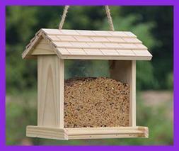 Gardirect Wooden Bird Seed Feeder, Log Cabin Bird Feeder