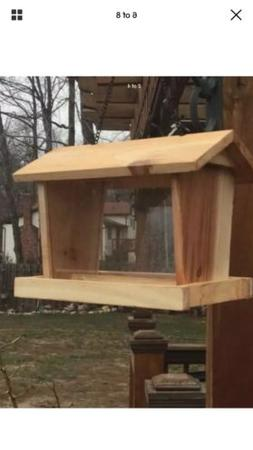 Handmade Wooden Cedar Hanging Bird Feeder With Metal Chain W