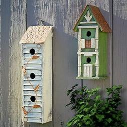 Glitzhome Wooden Hanging Tall 2&3-Tier Birdhouses Decorative