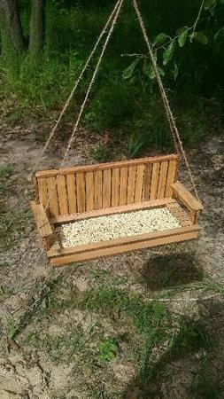 Wooden Porch Swing Bird Feeder from pallet boards