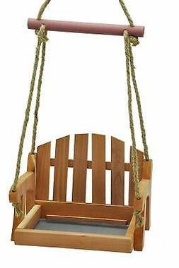 Gardirect Wooden Swing Seat Bird Feeder, Tray Feeder